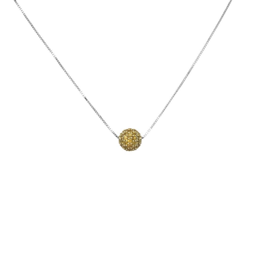 Collier in oro bianco con pendente sfera in zaffiri orange - ROBERTO DEMEGLIO