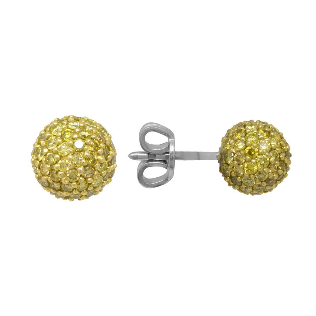Orecchini in oro bianco con sfera in diamanti gialli - ROBERTO DEMEGLIO