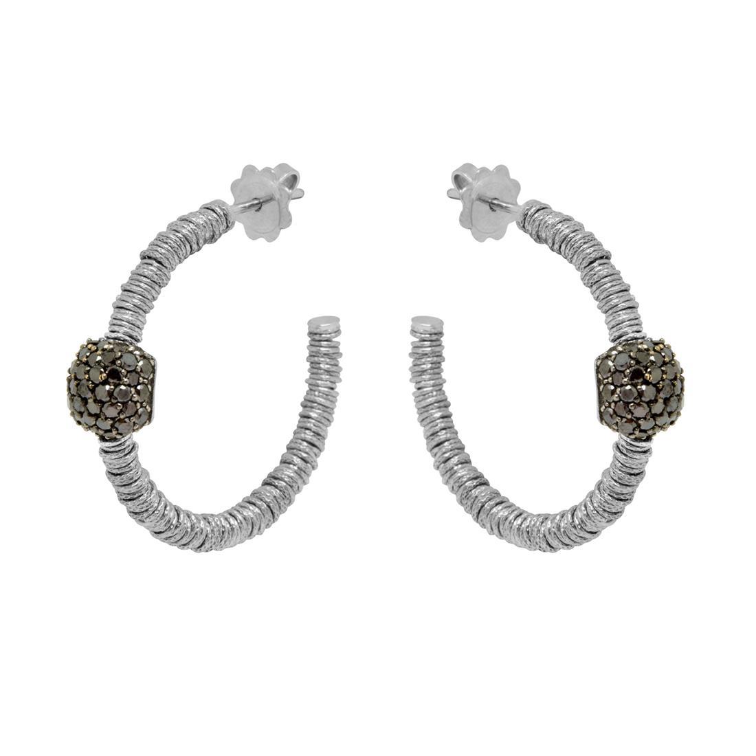 Orecchini a cerchio in oro bianco con diamanti neri - ROBERTO DEMEGLIO