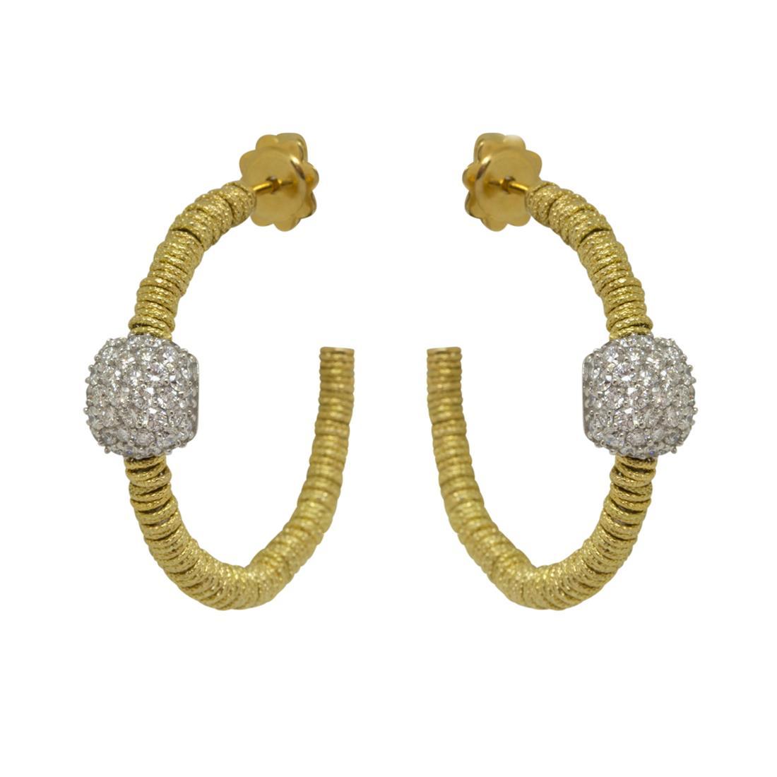 Orecchini a cerchio in oro giallo con diamanti  - ROBERTO DEMEGLIO