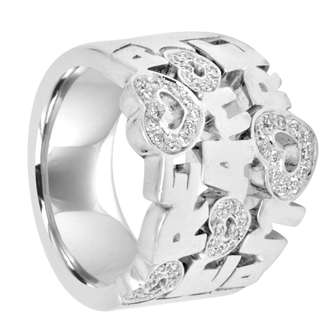 Anello in oro bianco con diamanti - PASQUALE BRUNI