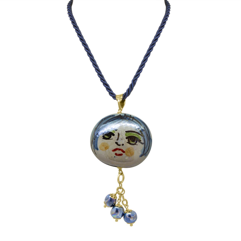 Collana in argento con elementi in ceramica - LE PERLE DI CALTAGIRONE