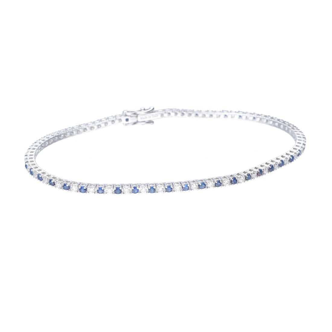 Bracciale tennis in oro bianco con diamanti e zaffiri - ALFIERI ST JOHN