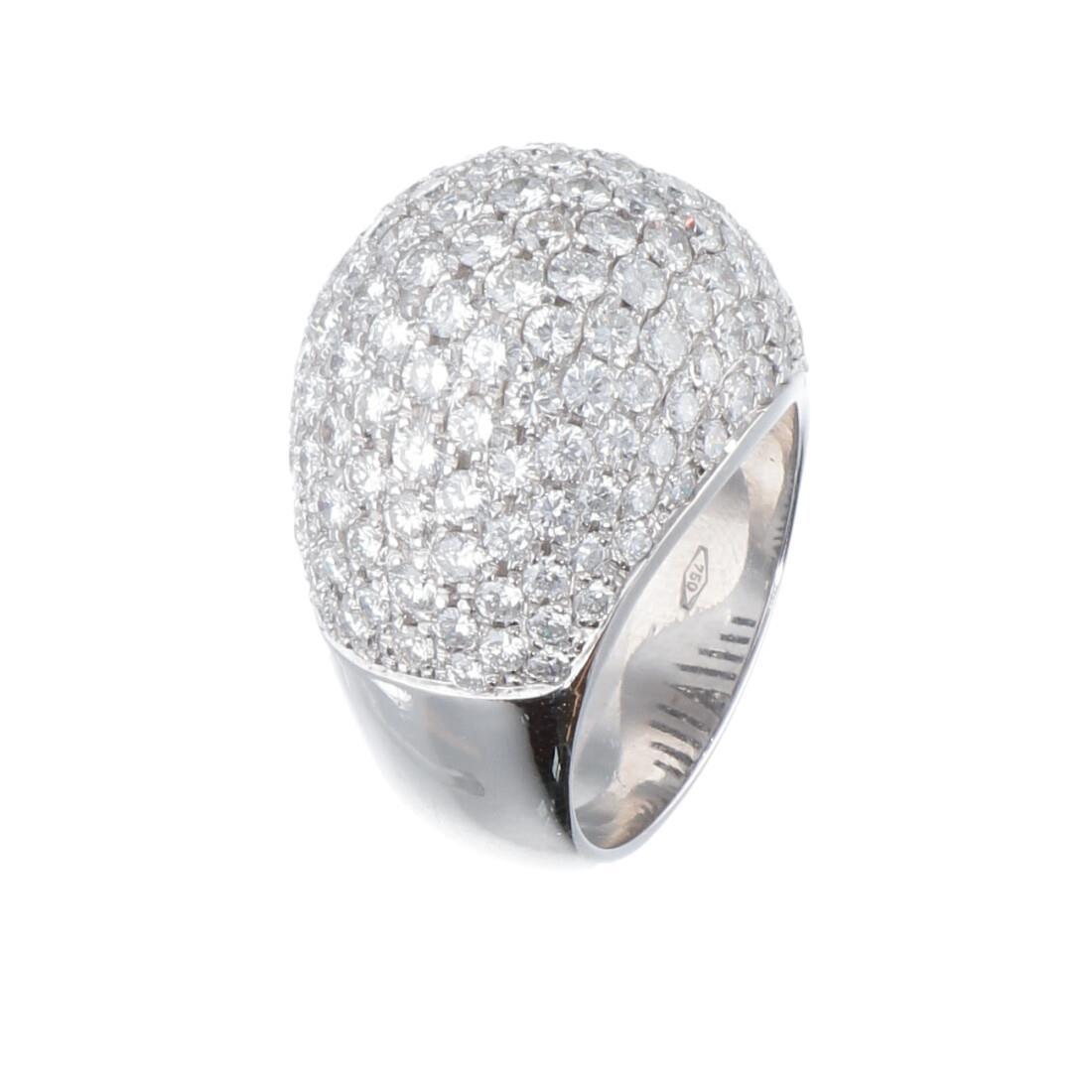 Anello pavè in oro bianco con diamanti ct 4.92 mis 12 - ORO&CO