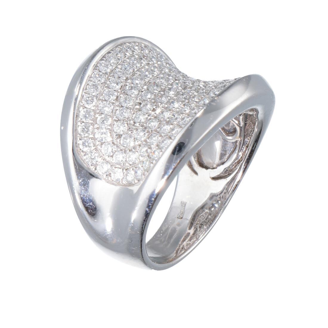 Anello design in oro bianco con diamanti ct 2.20 mis 12,5 - ORO&CO