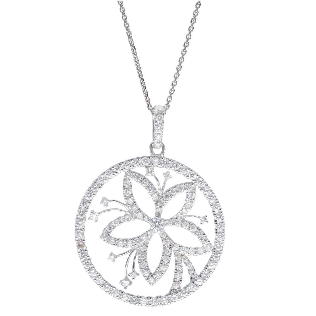 Collana con pendente in oro bianco con diamanti ct 2.73 - ORO&CO