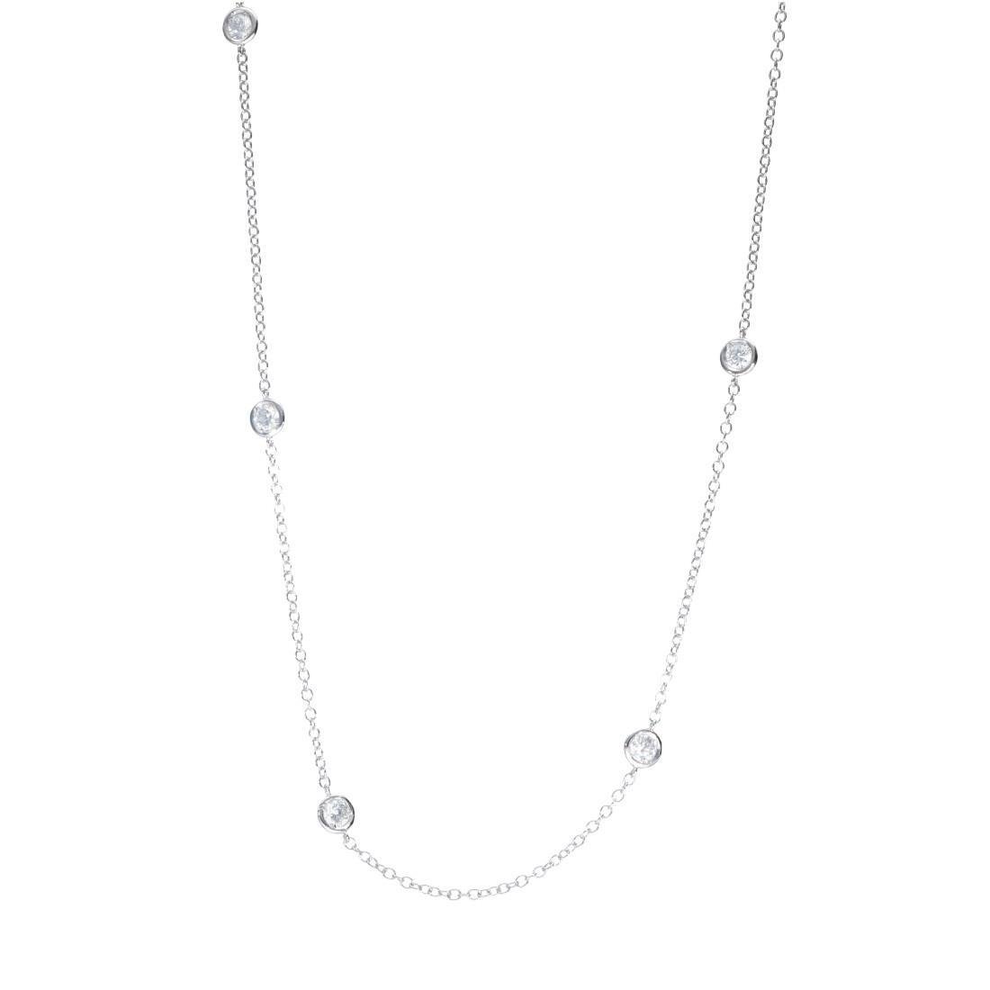 Collana in oro bianco con diamanti ct 0.96 - ORO&CO