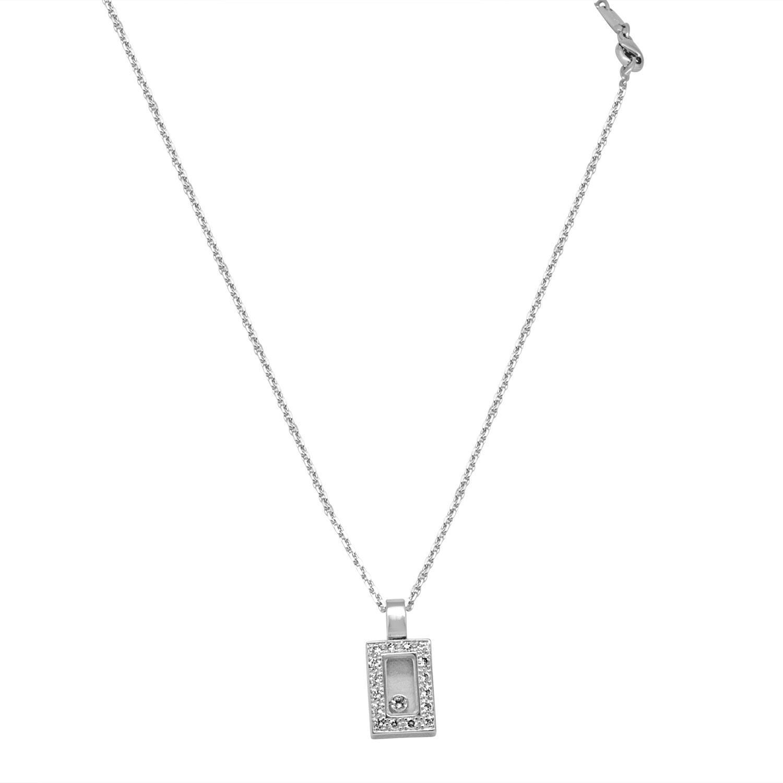 Collana in oro bianco con pendente e diamanti ct 0.30, lunghezza 40cm + 1cm - CHOPARD