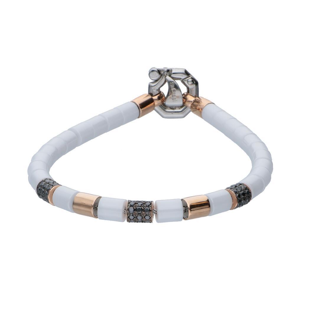 Bracciale da uomo in oro rosa, ceramica bianca e acciaio con diamanti neri ct 0.65 e diamante bianco ct 0.02, misura 18 - BARAKA