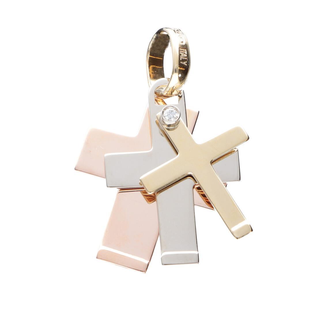 Pendente croce da uomo in oro giallo, bianco e rosa con diamante bianco ct 0.03 - BARAKA