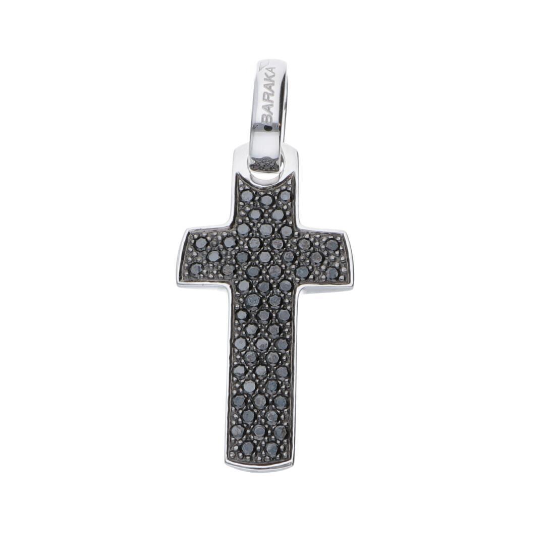 Pendente croce da uomo in oro bianco con diamanti neri ct 0.83 - BARAKA