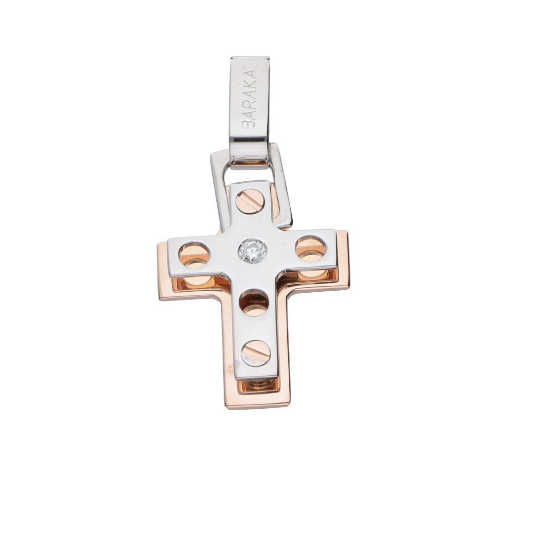 Pendente croce da uomo in oro bianco e rosa con diamante ct 0.05 - BARAKA