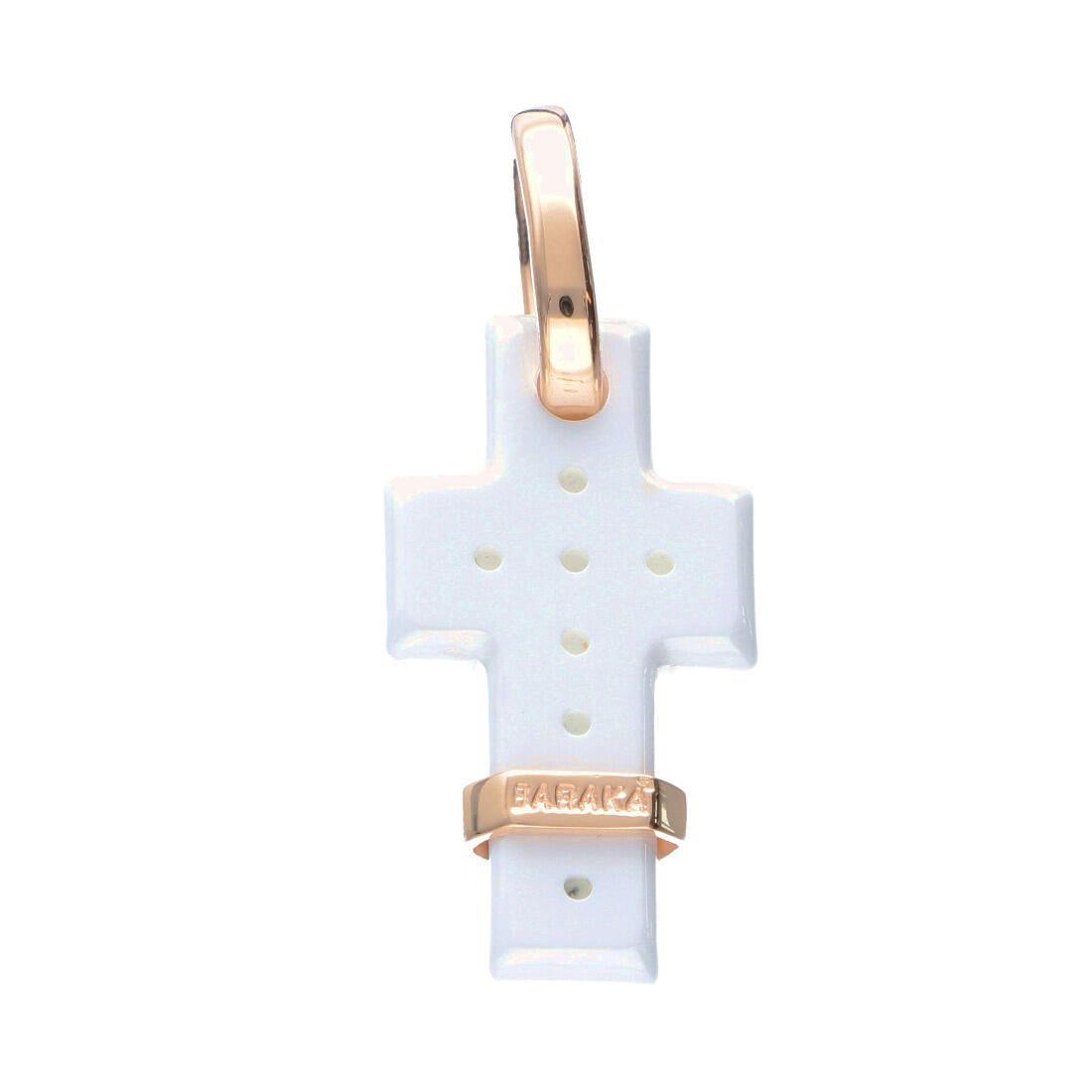 Pendente croce da uomo in oro rosa e ceramica - BARAKA