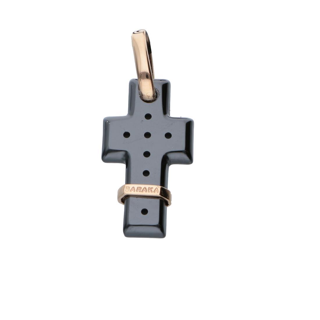 Pendente croce da uomo con oro rosa  - BARAKA