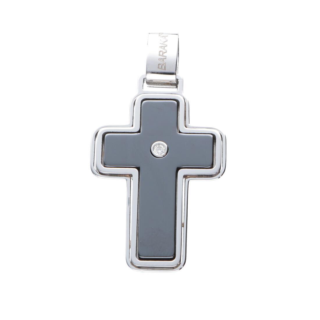 Pendente croce da uomo in ceramica nera e acciaiao lucido con diamanti bianchi ct 0.02 - BARAKA