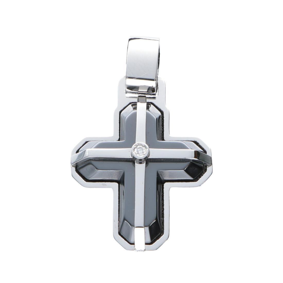 Pendente croce da uomo in ceramica nera e acciaio lucido con diamanti neri ct 0.02 - BARAKA