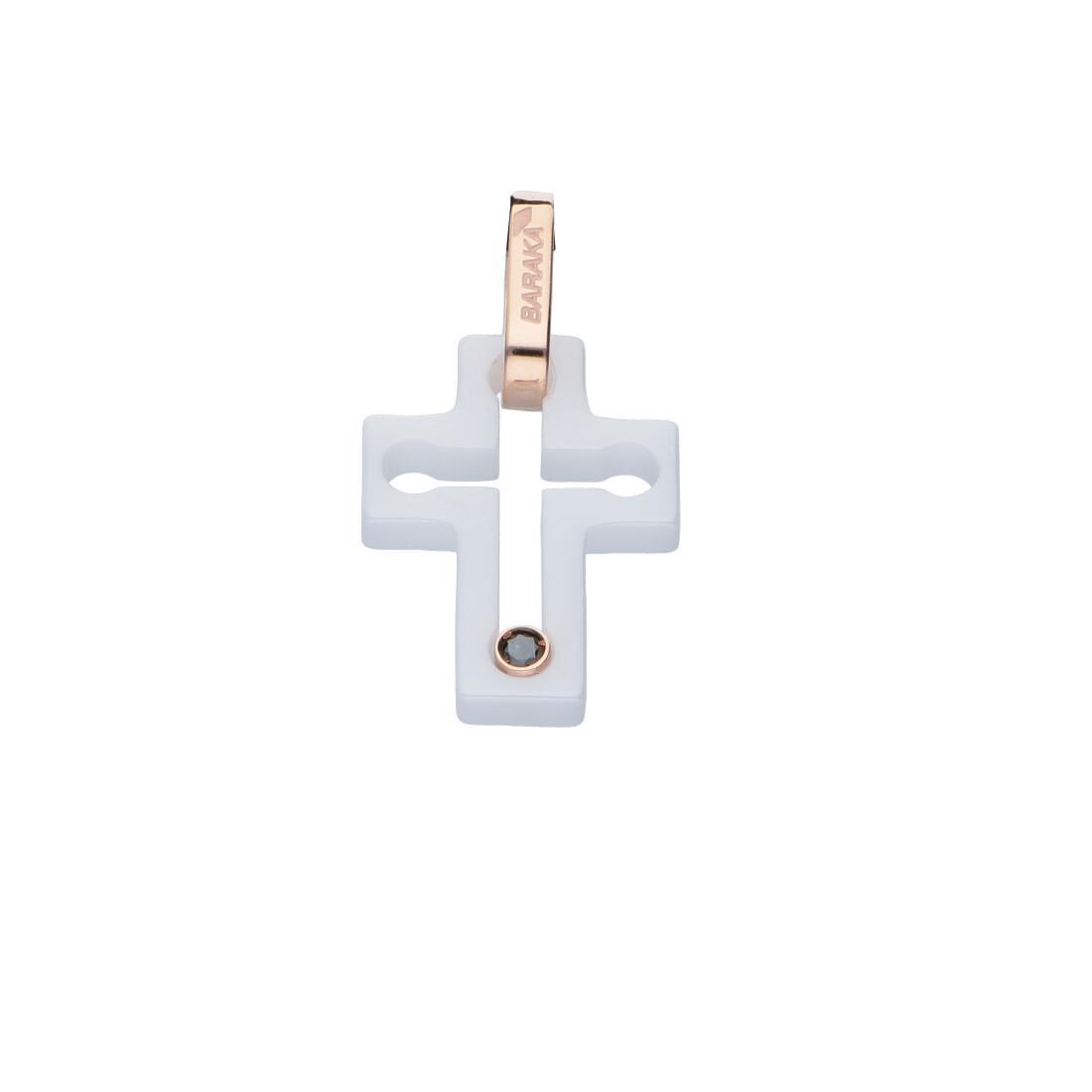 Pendente croce da uomo in oro rosa e ceramica bianca con diamante nero ct 0.03 - BARAKA