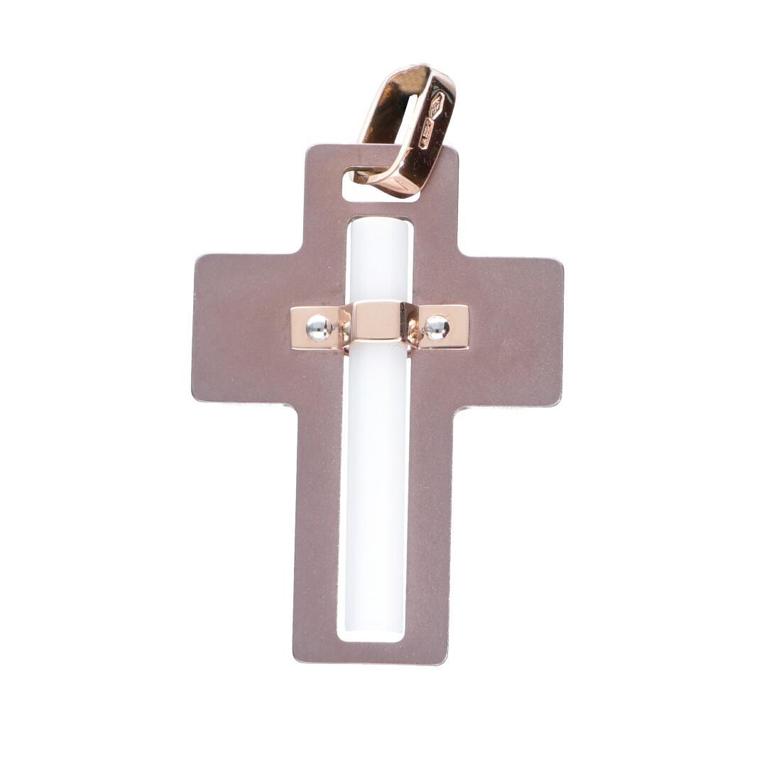 Pendente croce da uomo in oro rosa - BARAKA