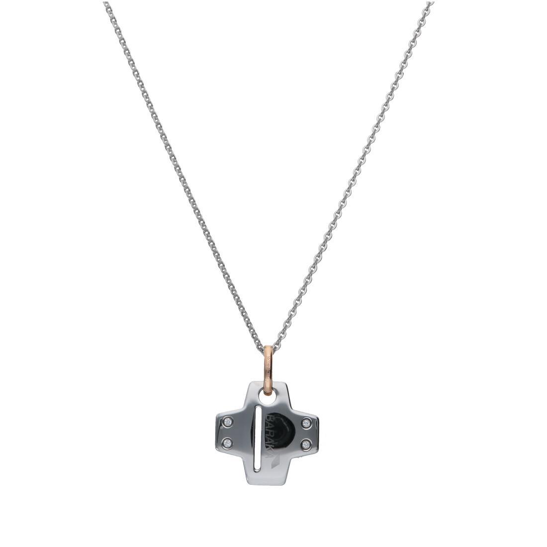 Collana da uomo in oro e acciaio con diamanti bianchi ct 0.08, lunghezza 24cm+ 2cm - BARAKA
