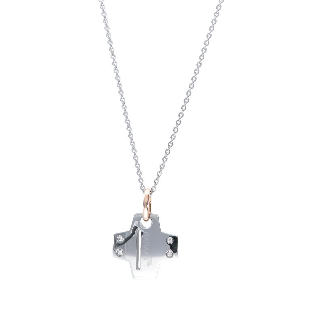 Collana da uomo in oro e acciaio con diamanti bianchi ct 0.08, lunghezza 54cm - BARAKA