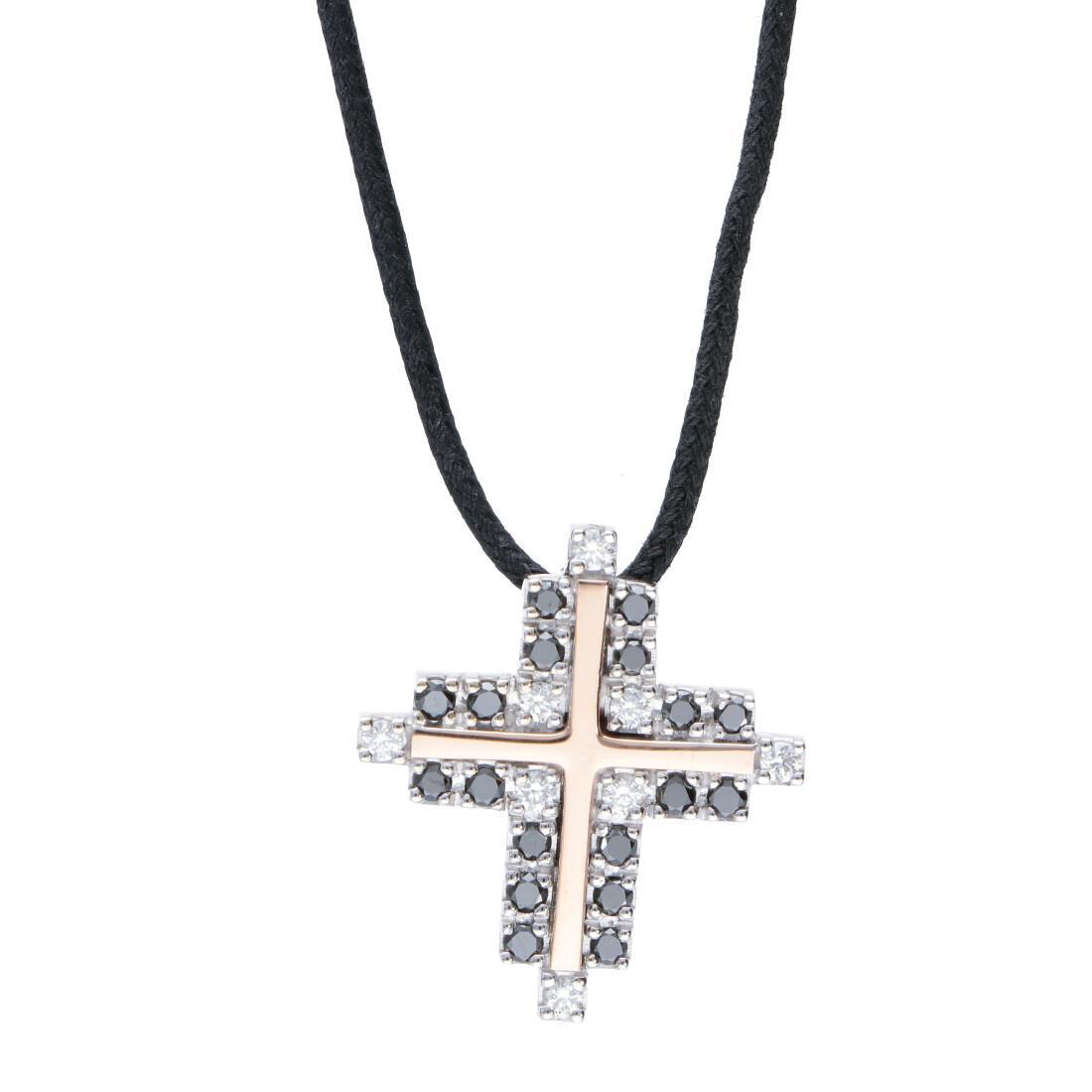 Collana da uomo con pendente croce in oro con diamanti 0.62 carati - BARAKA
