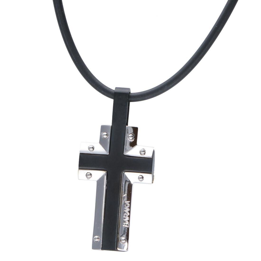 Collana croce da uomo in oro bianco e acciaio con caucciù nero - BARAKA