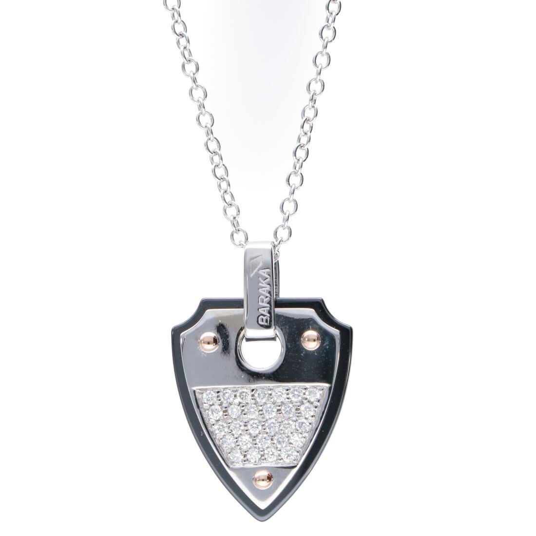 Collana da uomo in oro bianco e rosa, ceramica nera e diamanti 0.28 ct - BARAKA
