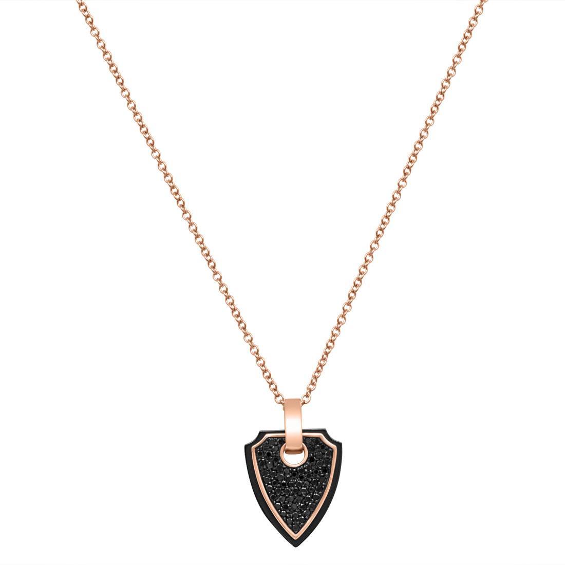 Collana in oro rosa e ceramica nera con diamanti neri ct 0.63  - BARAKA