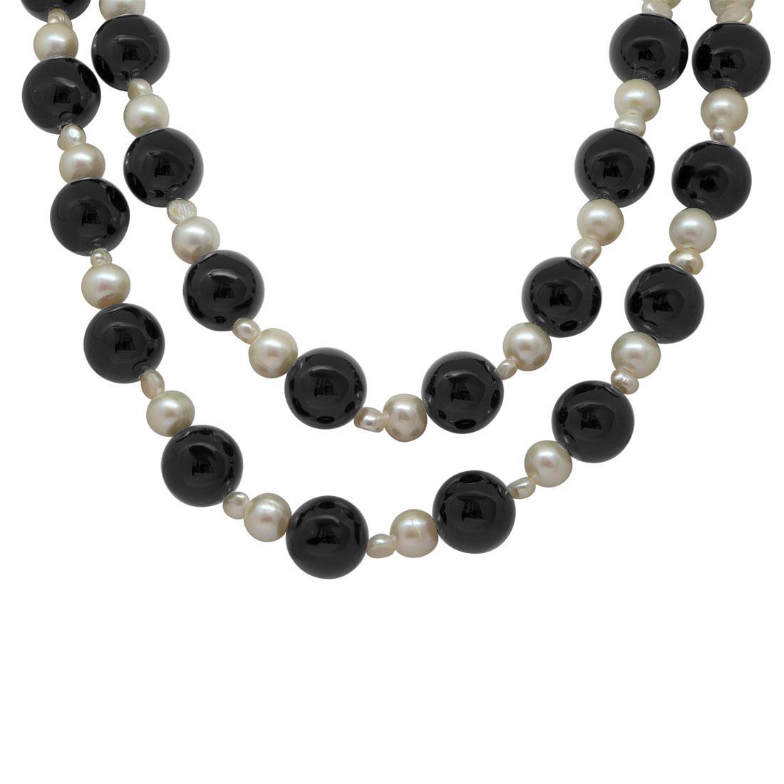 Collana con perle e pietre nere - RIVIK
