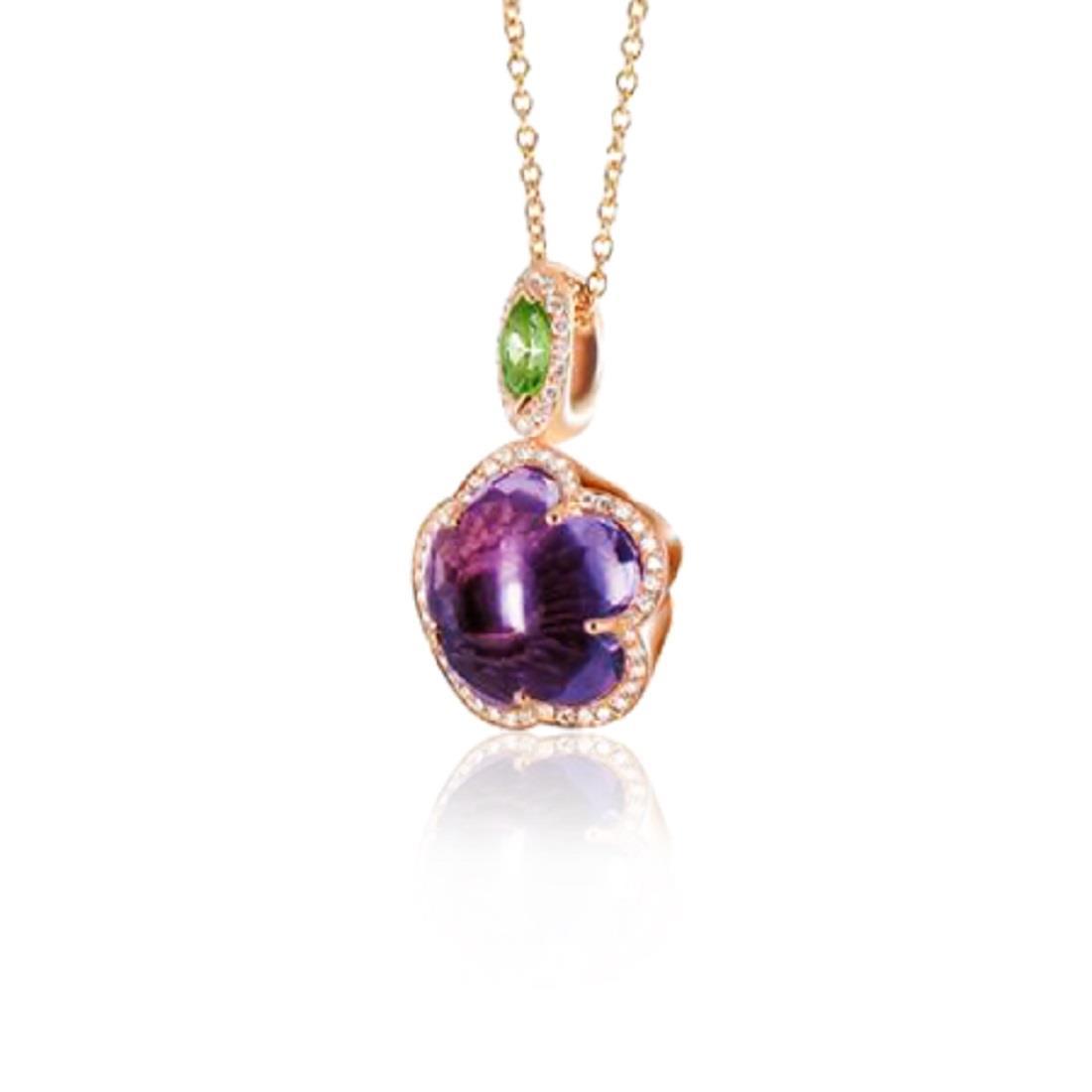 Collana con pendente ametista e diamanti - PASQUALE BRUNI