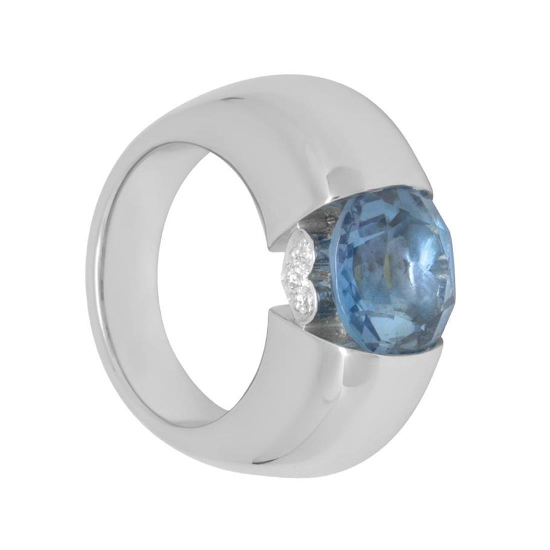 Anello in oro bianco ovale colore 985988 con diamanti ct 0.07 - PASQUALE BRUNI