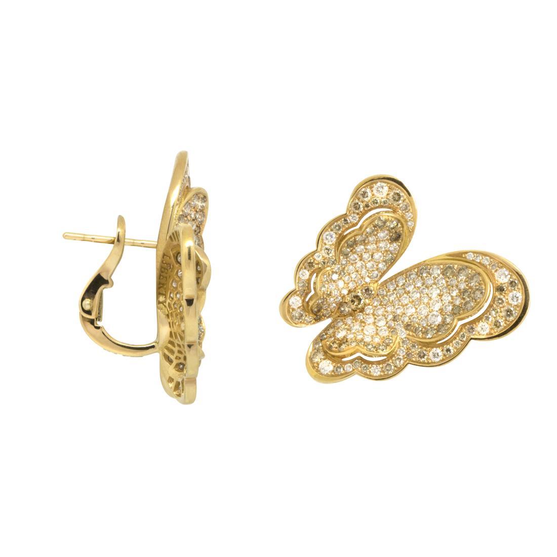 Orecchini  in oro rosso farfalla con diamanti - PASQUALE BRUNI