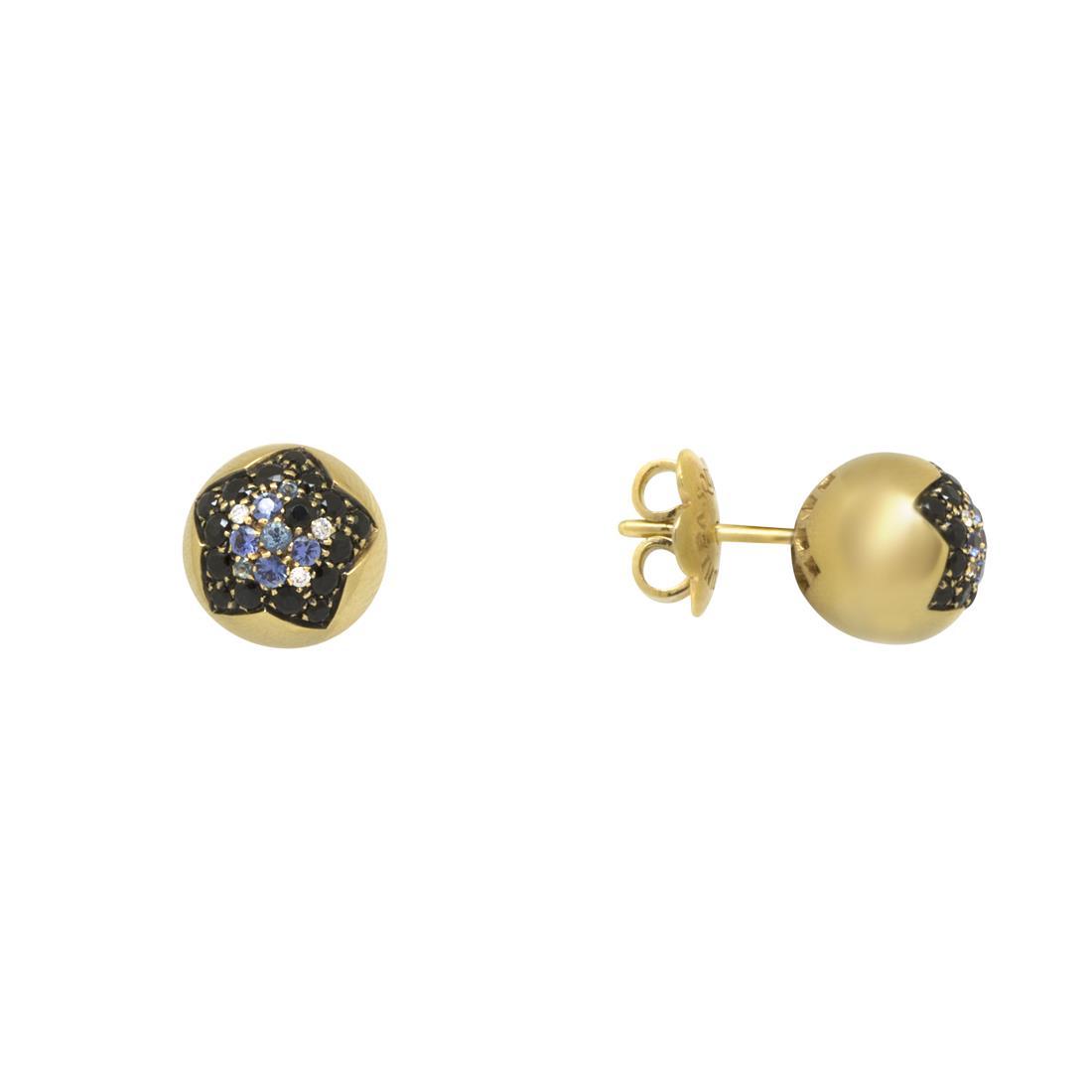 Orecchini in oro rosso con diamanti e zaffirii  - PASQUALE BRUNI