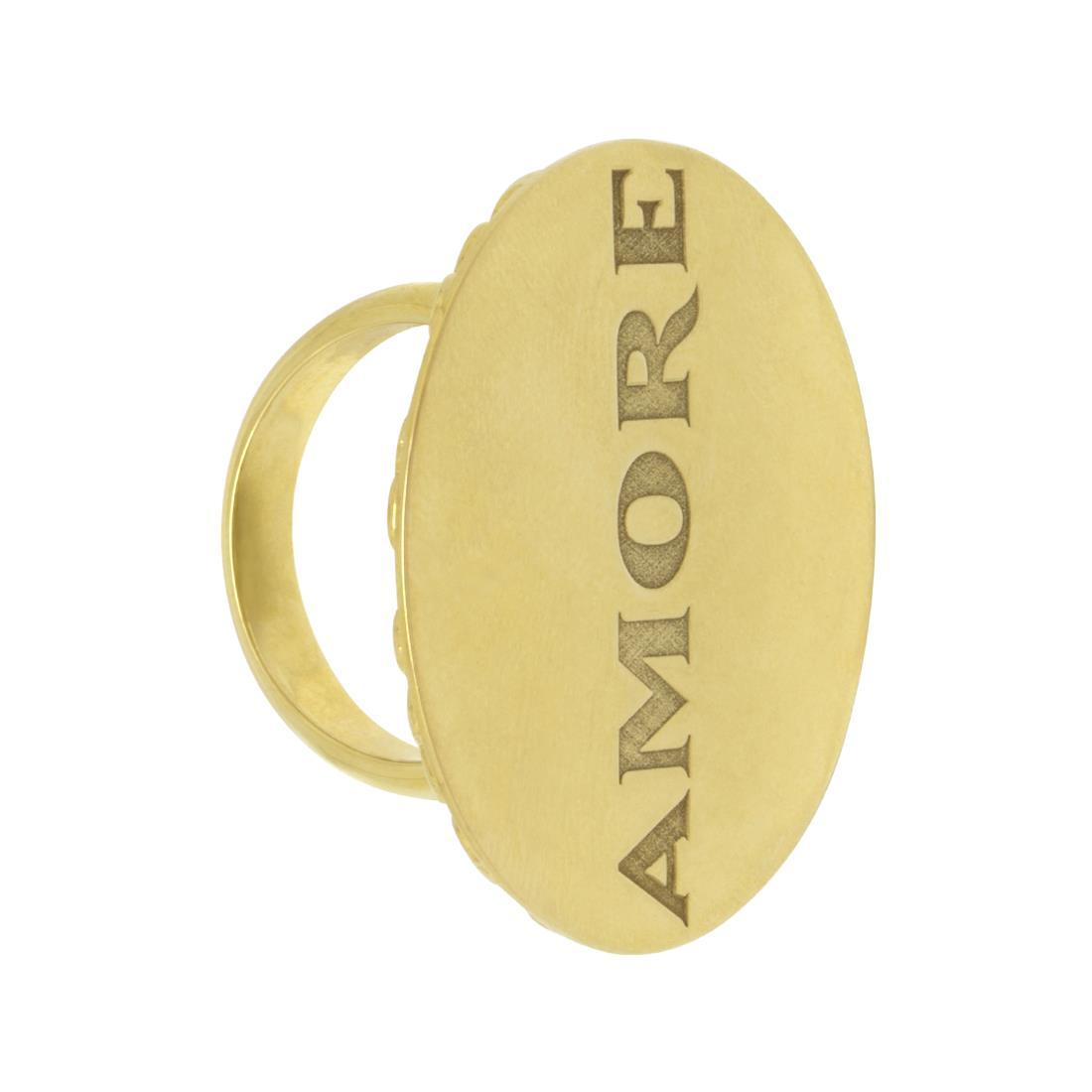 Anello in oro giallo con medaglia amore - PASQUALE BRUNI