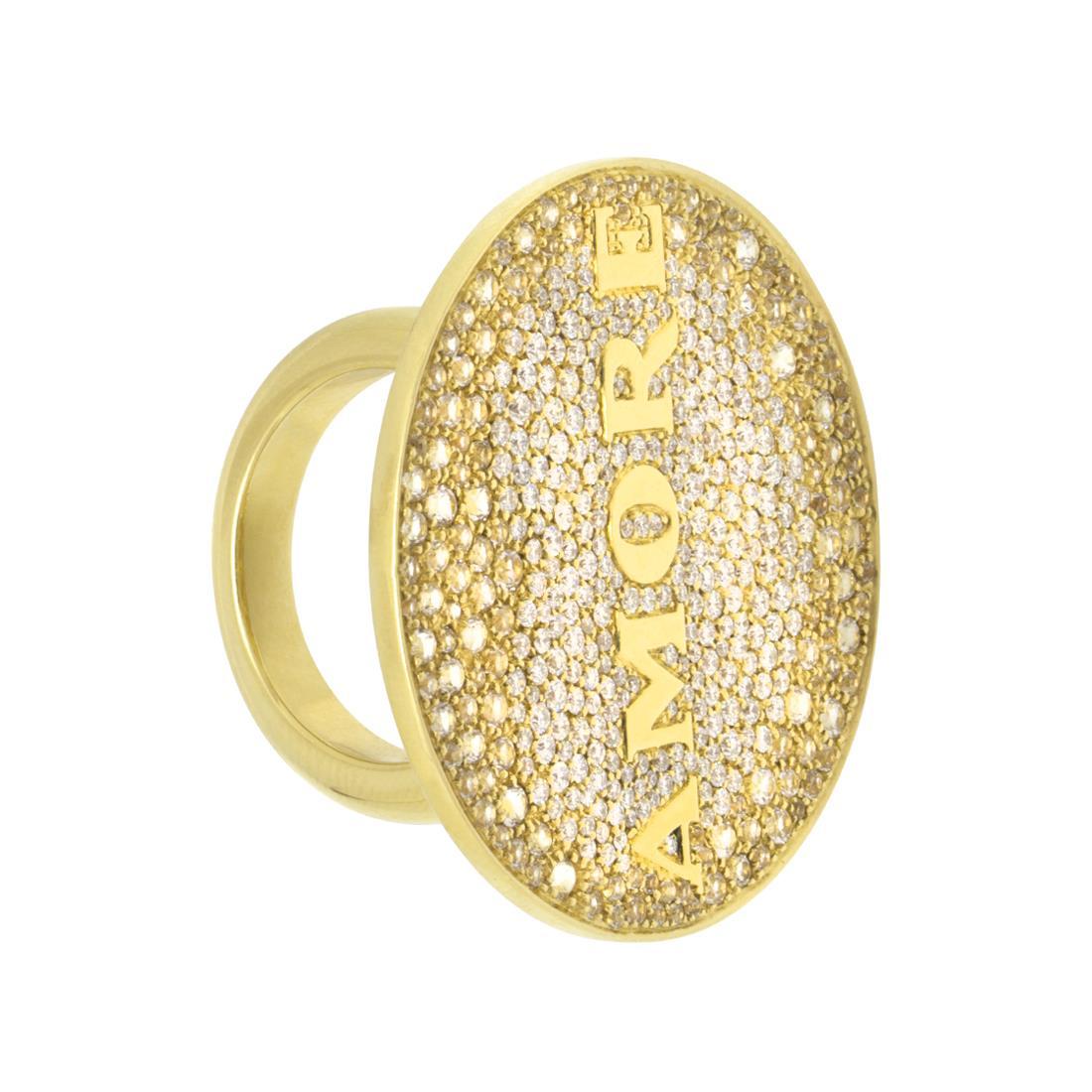 Anelloin oro giallo con medaglia amore - PASQUALE BRUNI