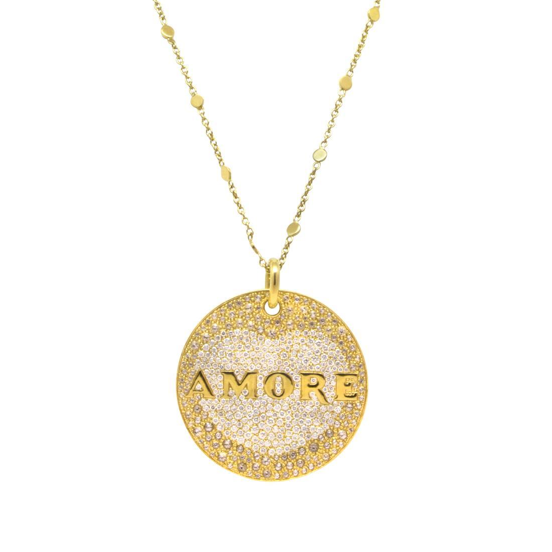 Collanai in oro giallo con diamanti medaglia amore - PASQUALE BRUNI