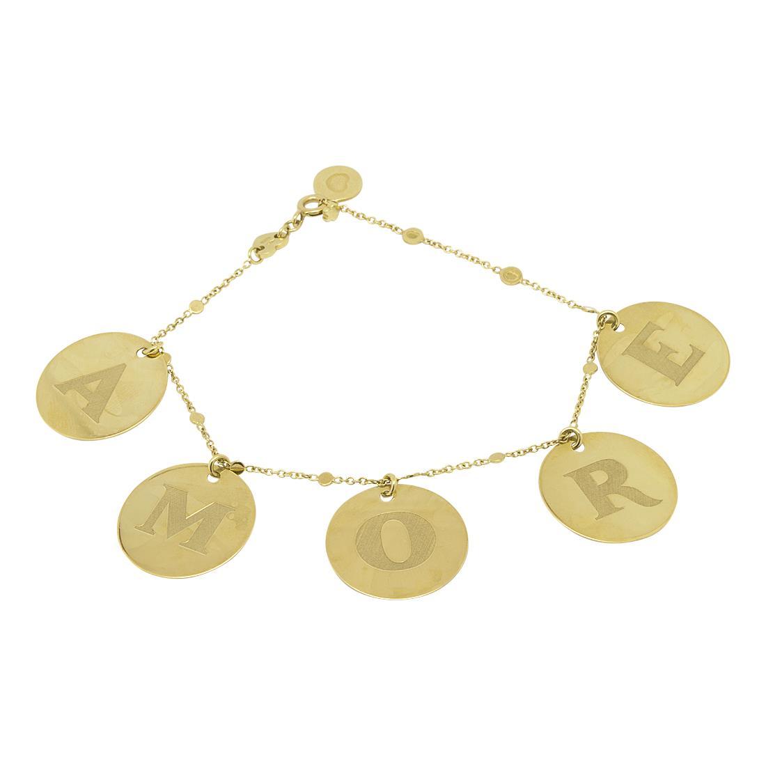Bracciale in oro giallo con medaglie amore - PASQUALE BRUNI