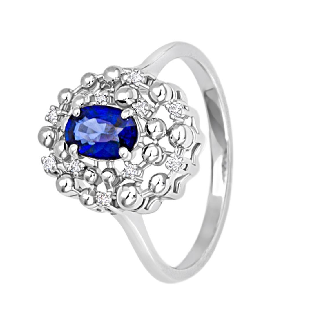 Anello in oro bianco con diamanti e zaffiro - BLISS