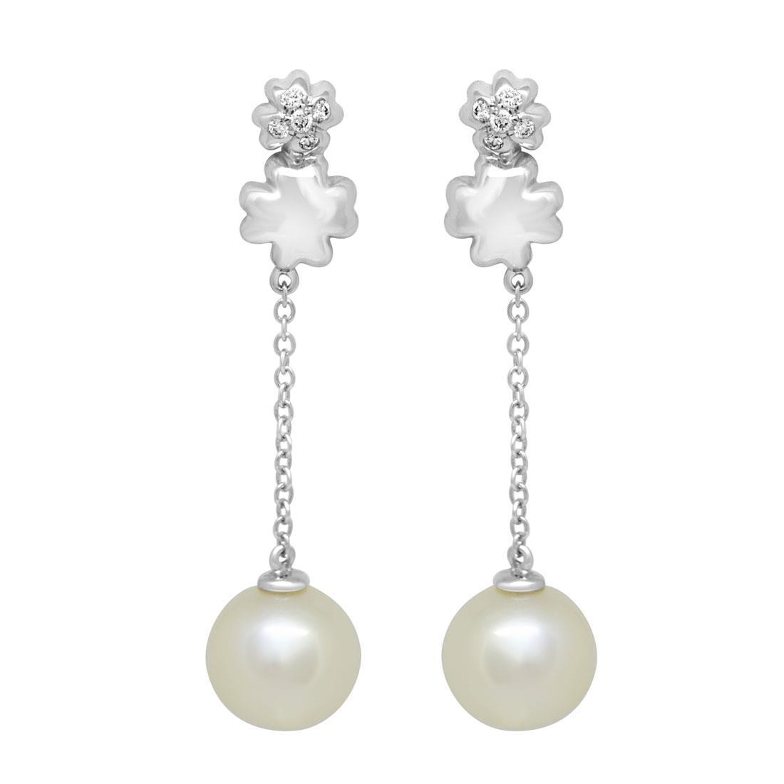 Orecchini in oro bianco con perle e diamanti - BLISS