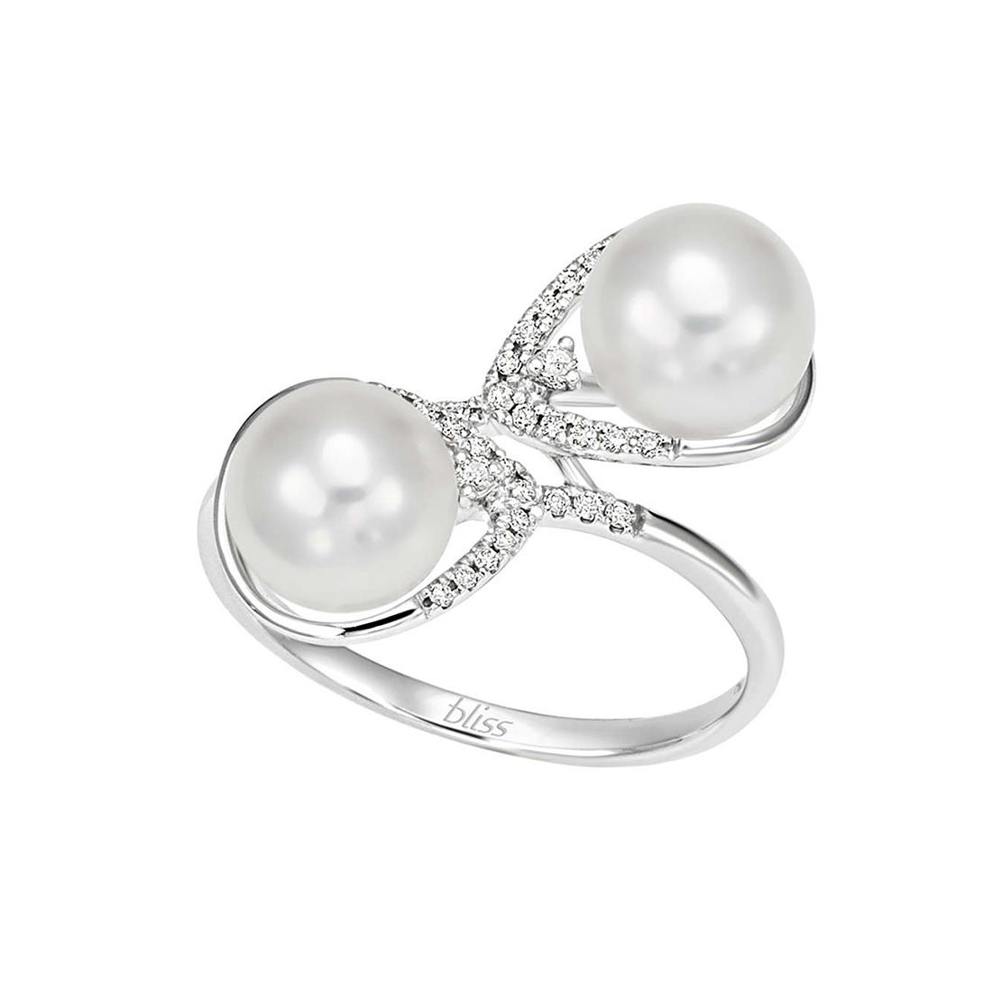 Anello design con diamanti e perle - BLISS