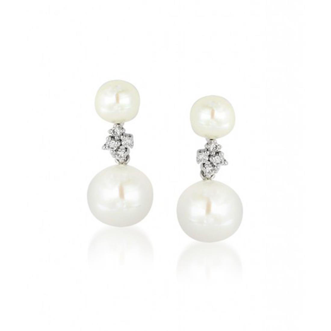 Orecchini in oro bianco con diamanti e perle - BLISS