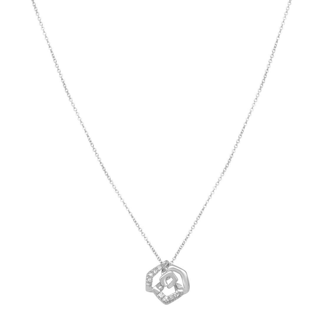 Collana in oro bianco con pendente in diamanti - BLISS