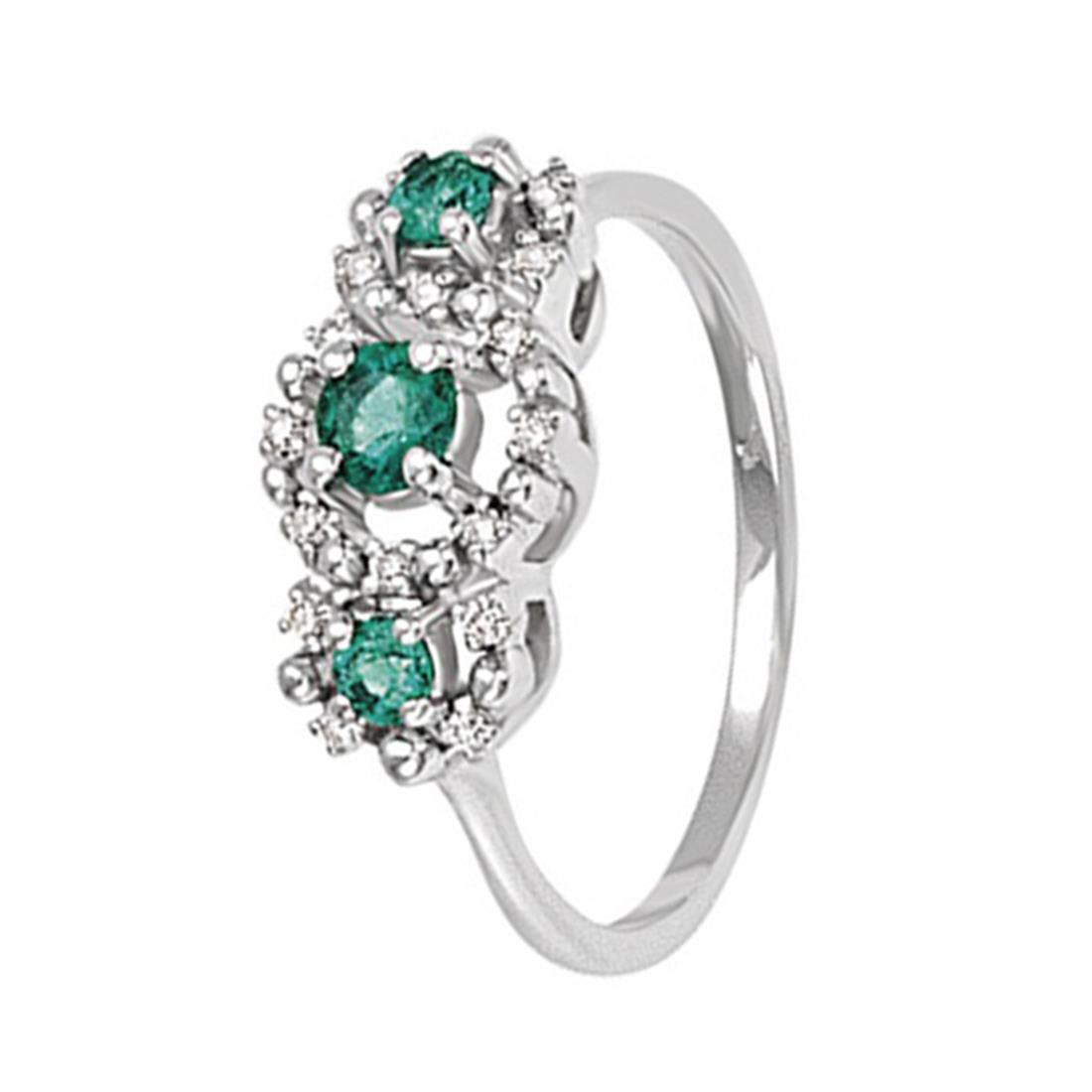 Anello con diamanti 0.08 ct e smeraldi 0.3 ct - BLISS