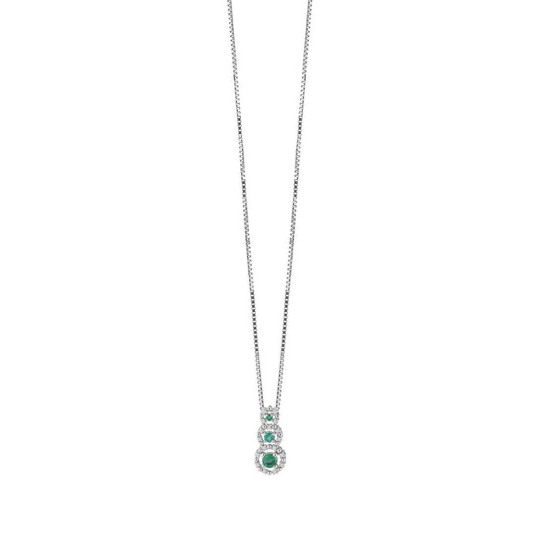 Collana con diamanti 0.09 ct e smeraldi 0.25 ct - BLISS