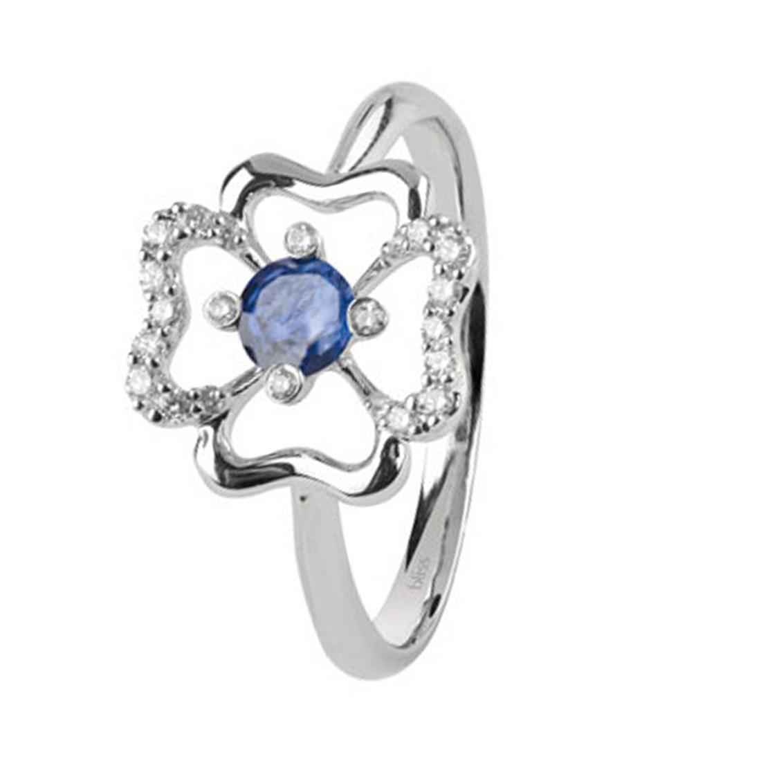 Anello con diamanti 0.11 ct e zaffiro 0.25 ct - BLISS