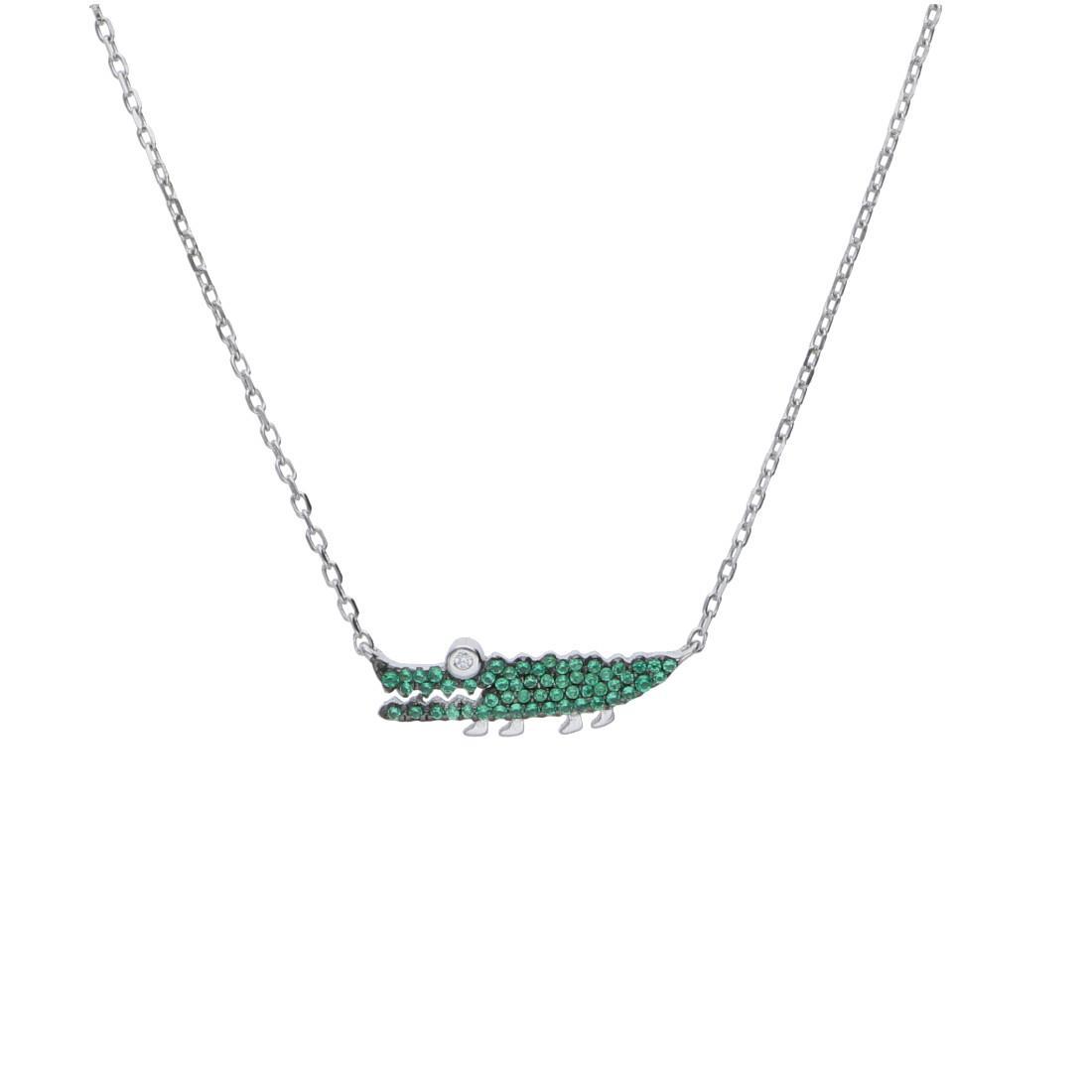 Collana in argento con pendente coccodrillo - ORO&CO 925