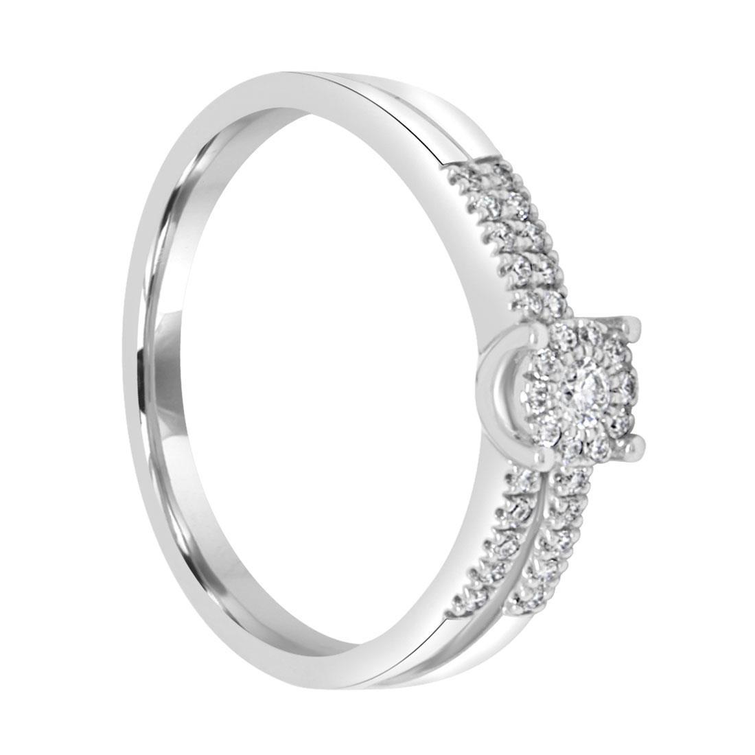 Anello solitario in oro bianco con diamanti - BLISS