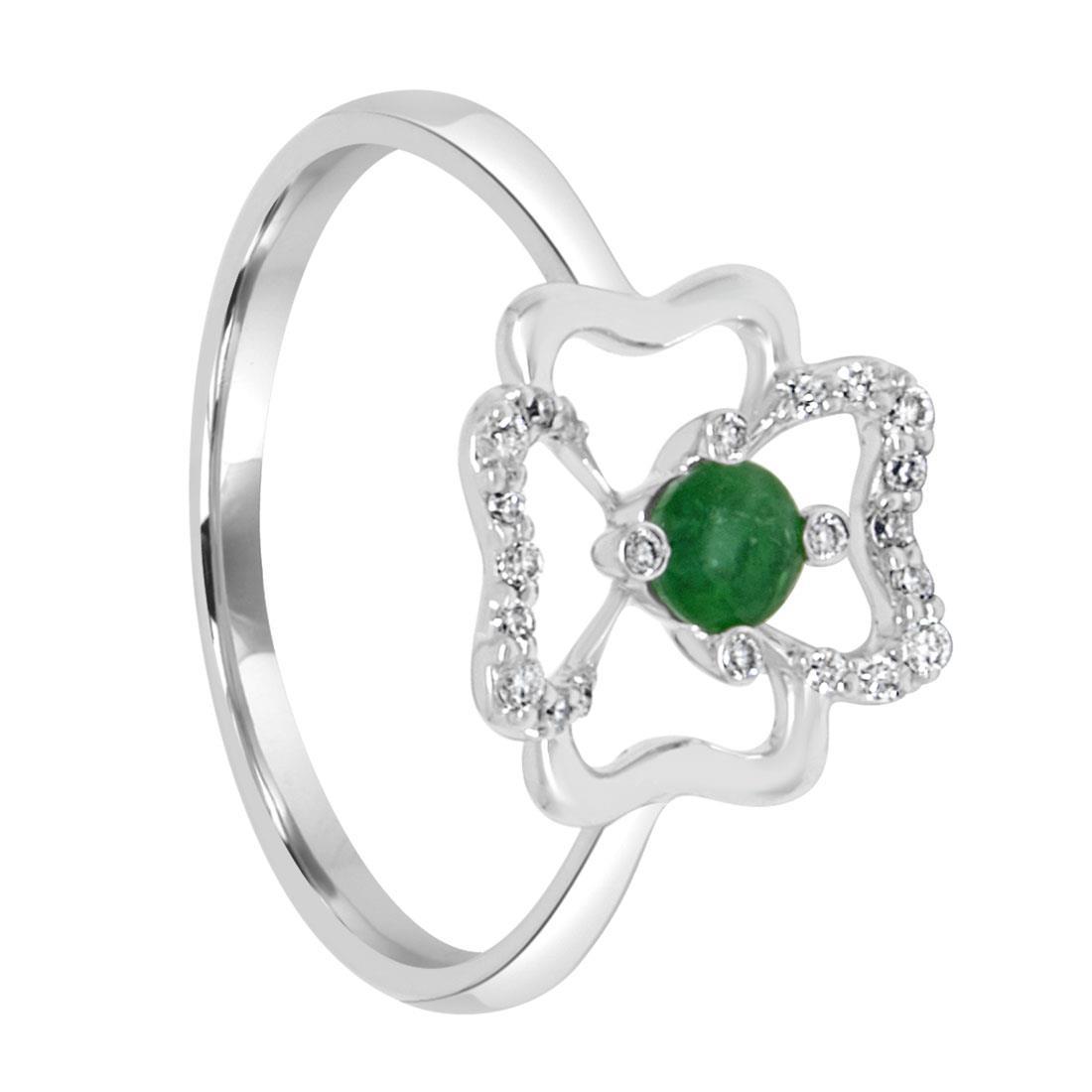 Anelloin oro bianco con diamanti e smeraldo - BLISS