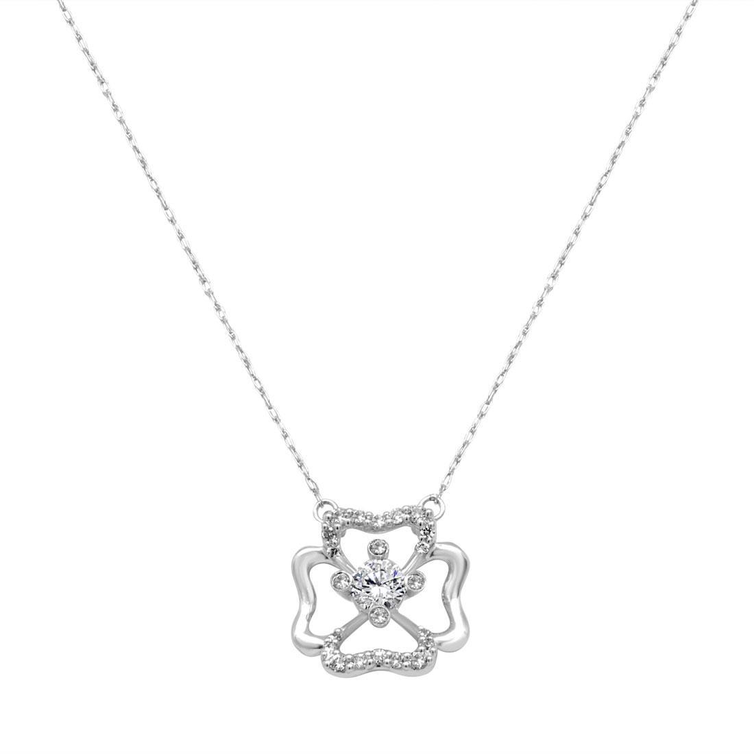 Collana in oro bianco con diamanti a forma fiore - BLISS