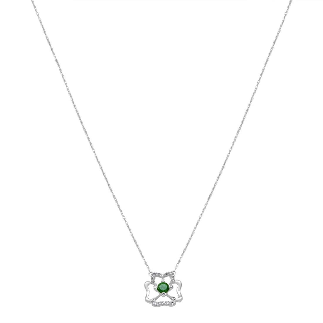 Collana in oro bianco con diamanti e smeraldo - BLISS
